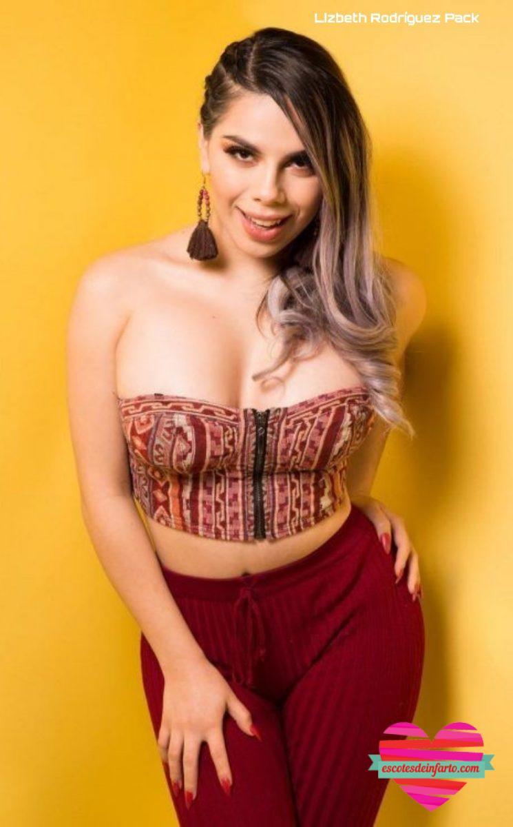Lizbeth Rodríguez con pantalones y top estampado