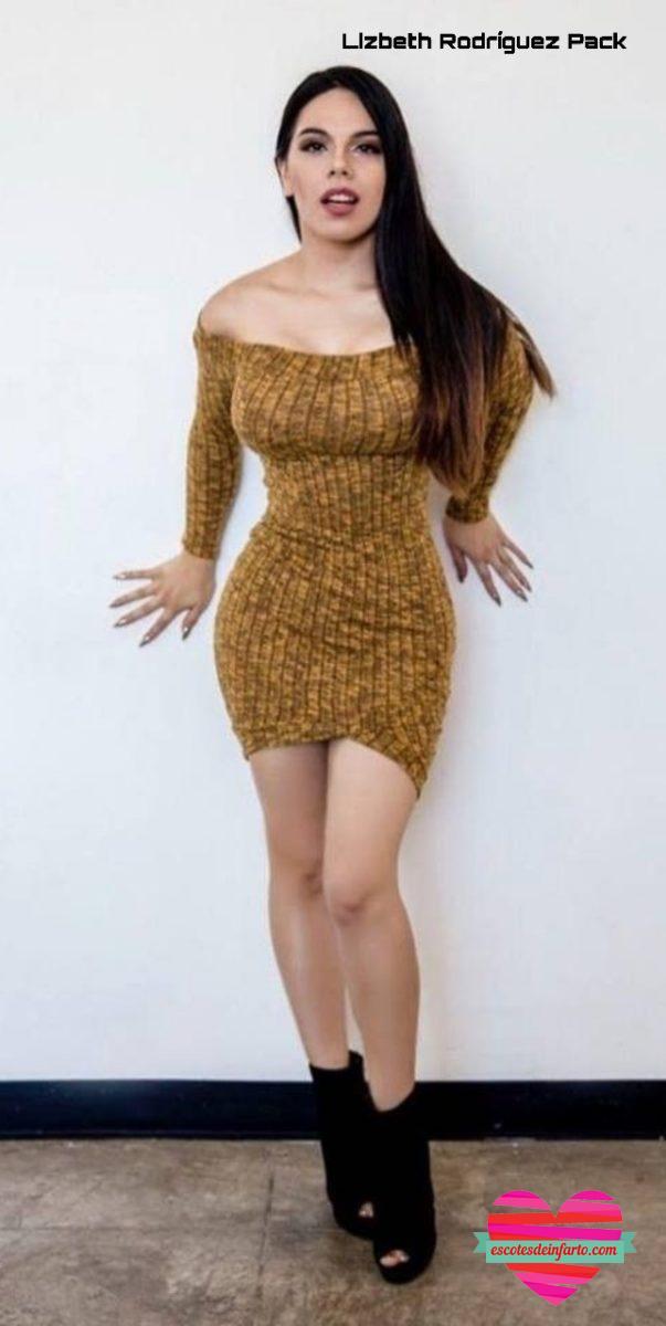 Lizbeth Rodríguez apoyada en una parez con vestido ajustado y botas