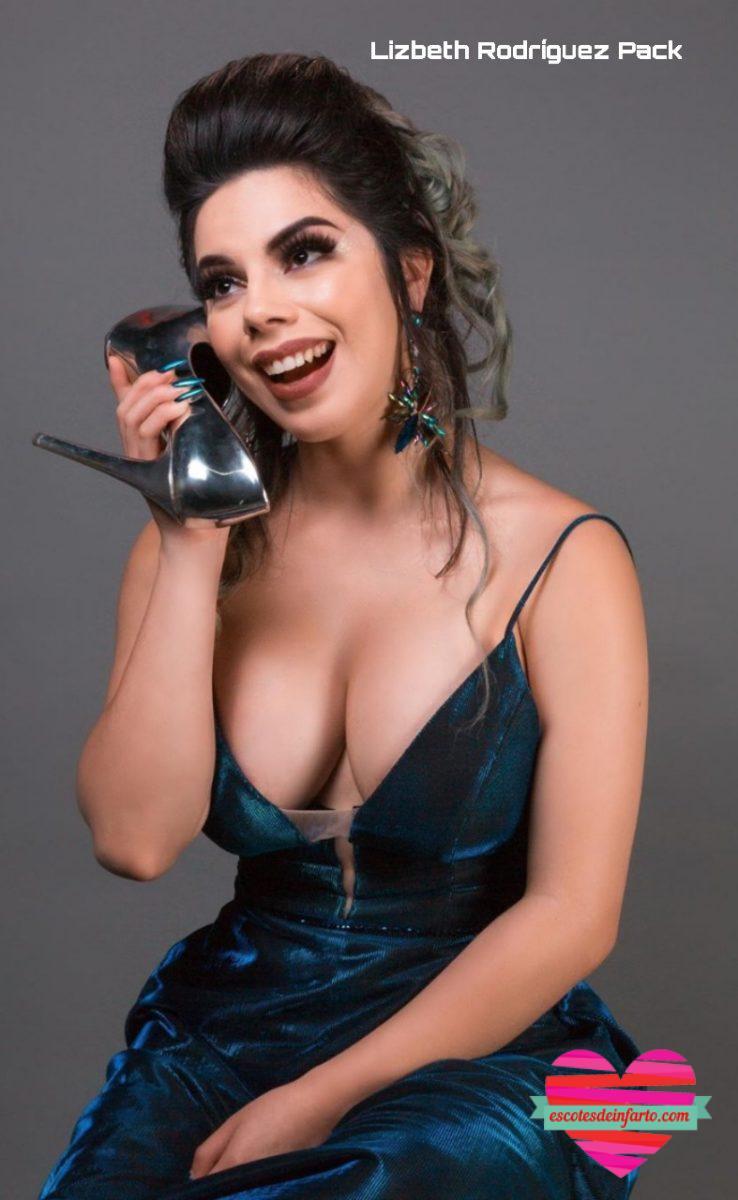 Lizbeth Rodríguez con un gran escote utiliza un zapato como teléfono