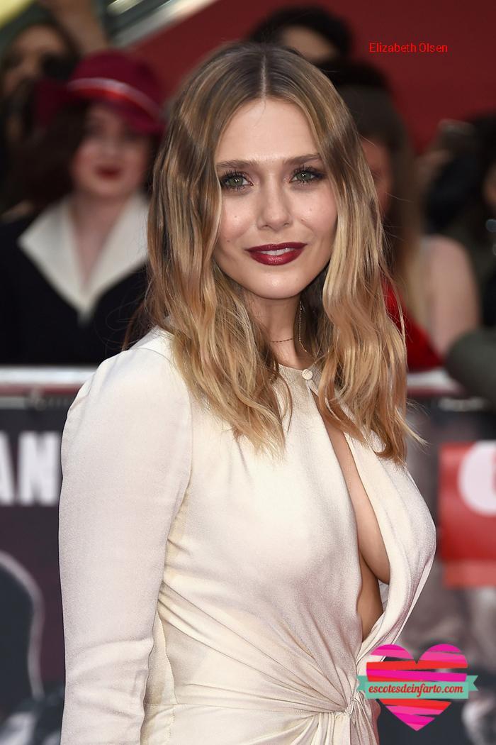 Elizabeth Olsen vestido blanco y escotado