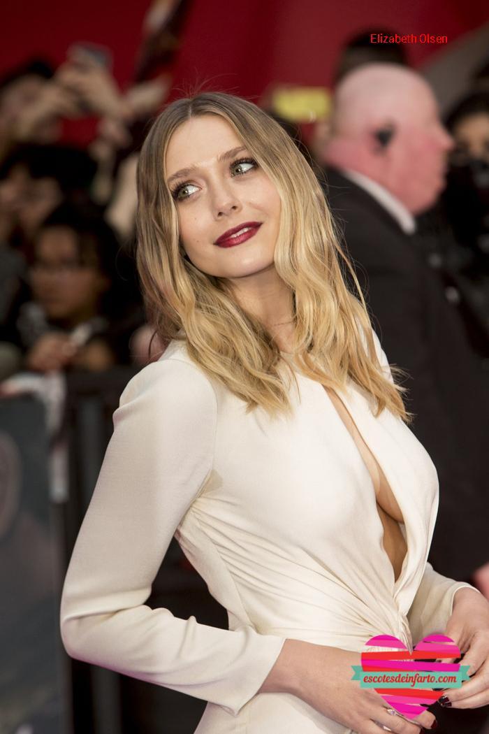 Elizabeth Olsen pelo sueto y escote grande